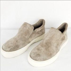 Vince grey suede slip on sneakers